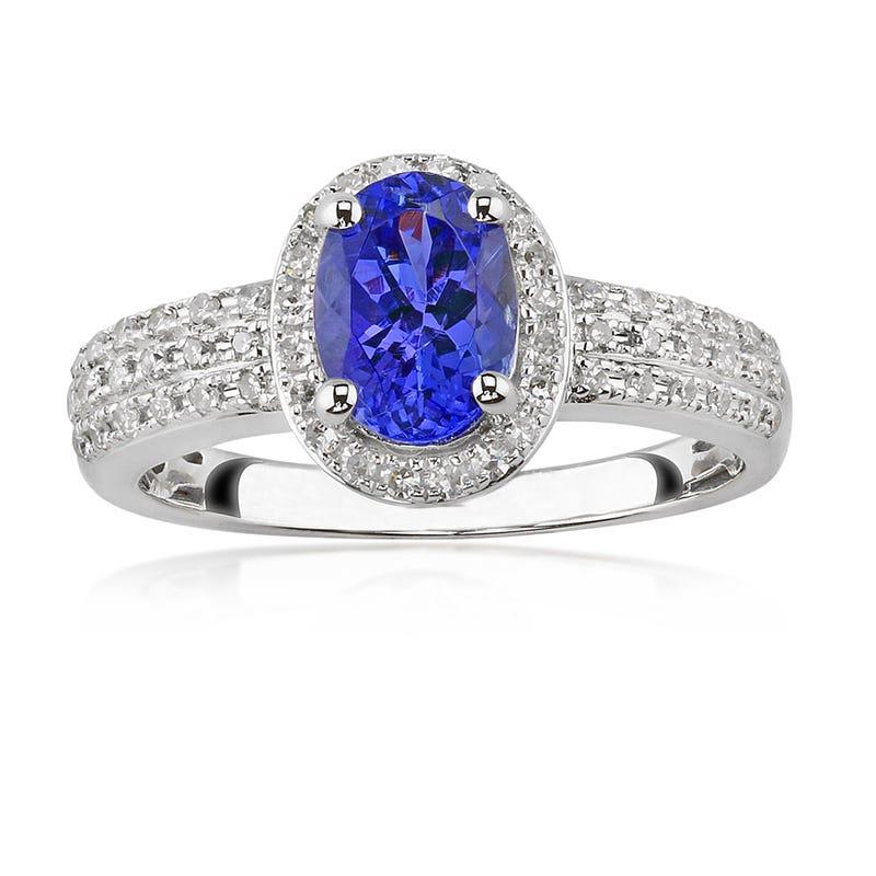 Tanzanite Gemstone & Diamond 10K White Gold Ring