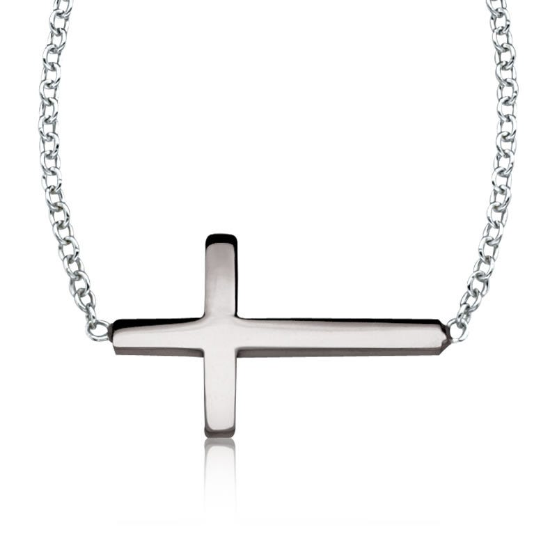 Sideways Cross Necklace in Sterling Silver