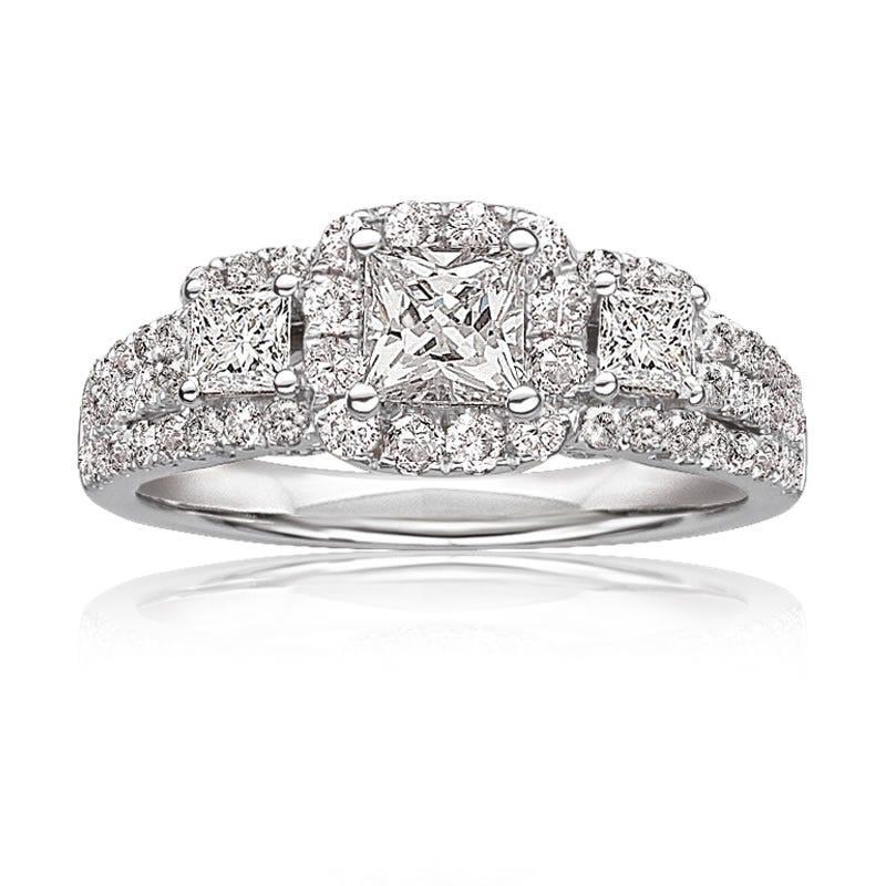 Thea. Diamond 3-Stone Pavé Engagement Ring 14k White Gold