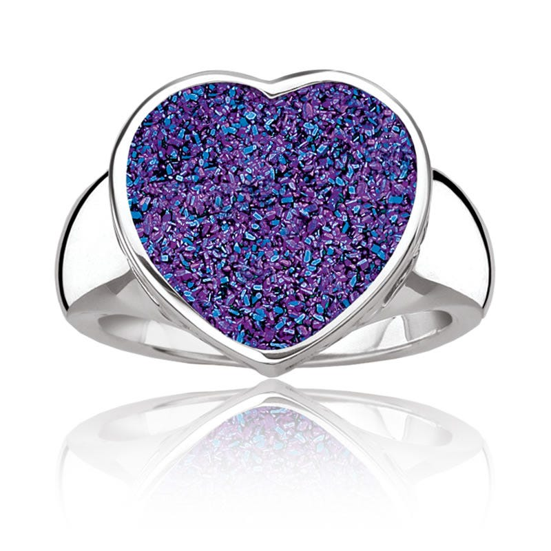 Purple Druzy Quartz Heart Ring in Sterling Silver