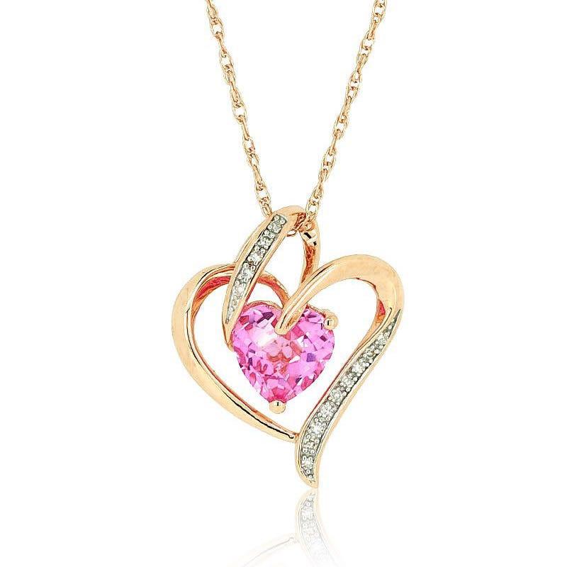 Created Pink Sapphire & Diamond Pendant 14k Rose Gold