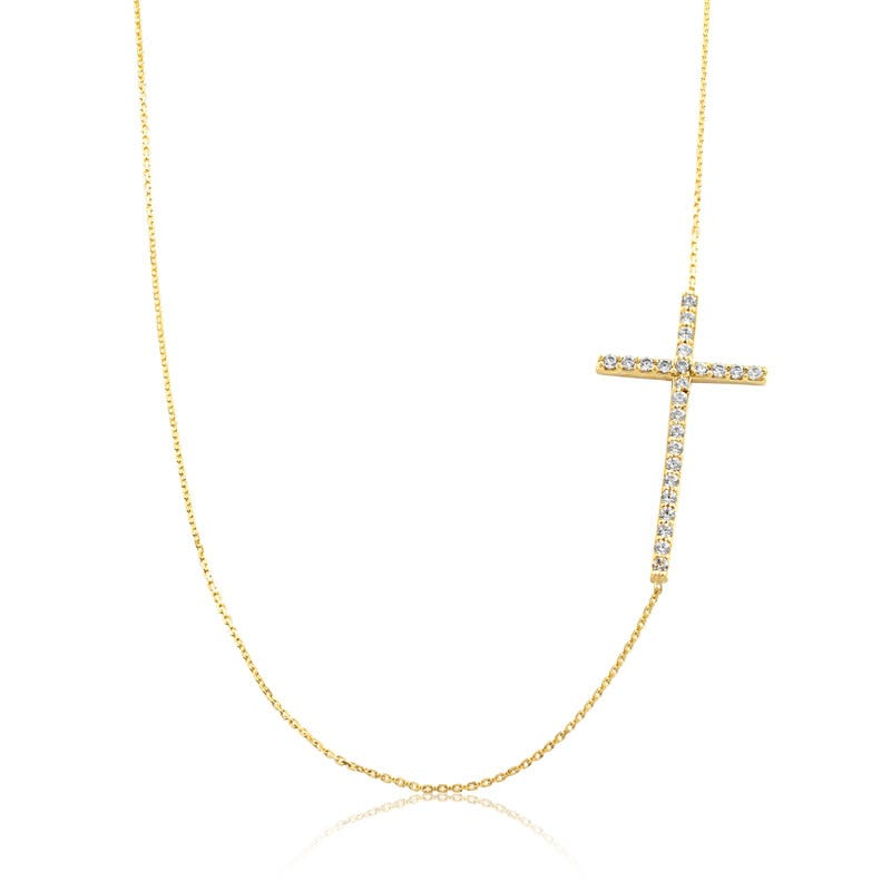 Cubic Zirconia Sideways Cross Necklace