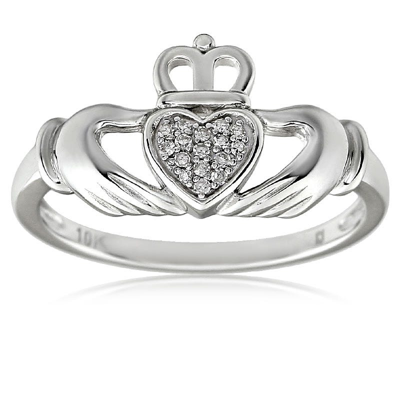 Diamond Irish Claddagh Ring in 10K White Gold