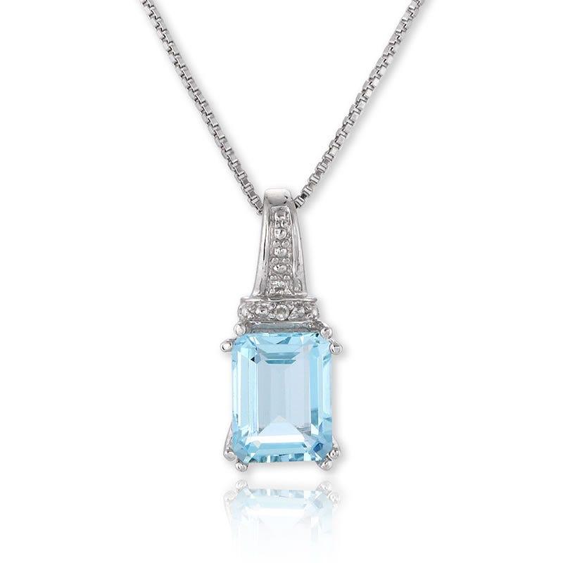 Aquamarine Emerald-Cut Diamond Pendant in Sterling Silver