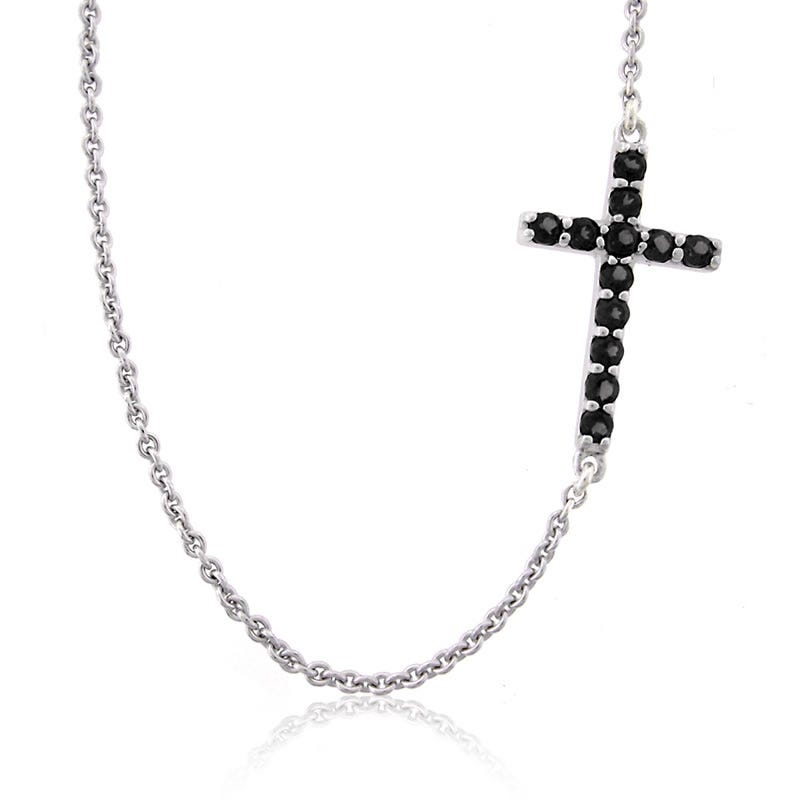 Black Onyx Side Cross Pendant