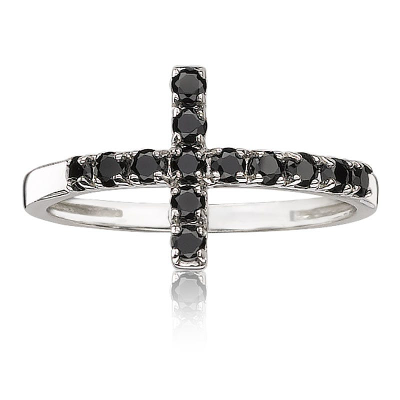 Black Onyx Sideways Cross Ring in Sterling Silver