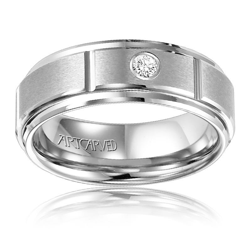 ArtCarved Men's White Tungsten Diamond Wedding Band