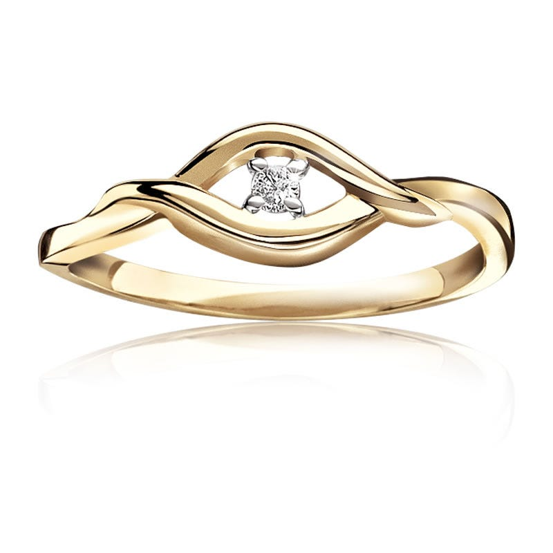 Diamond Solitaire Promise Ring 10k Yellow Gold