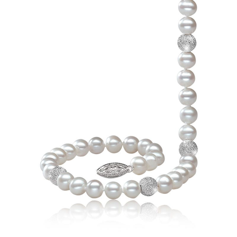 Freshwater Pearl & Sparkle Bead Strand 18