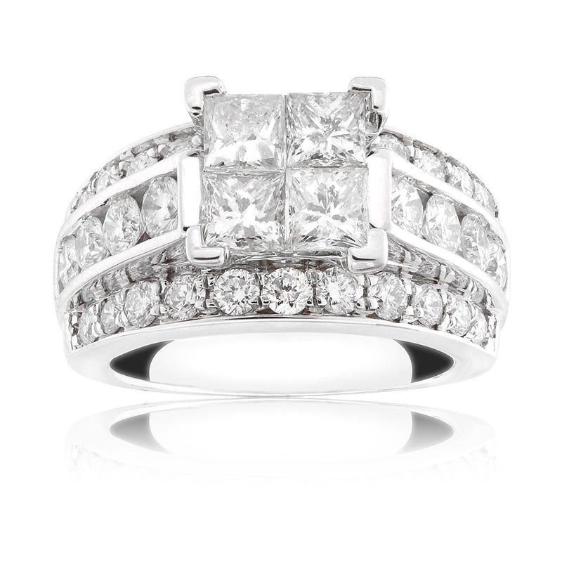 Quad Set Diamond Engagement Ring 3 1/2ct. T.W.