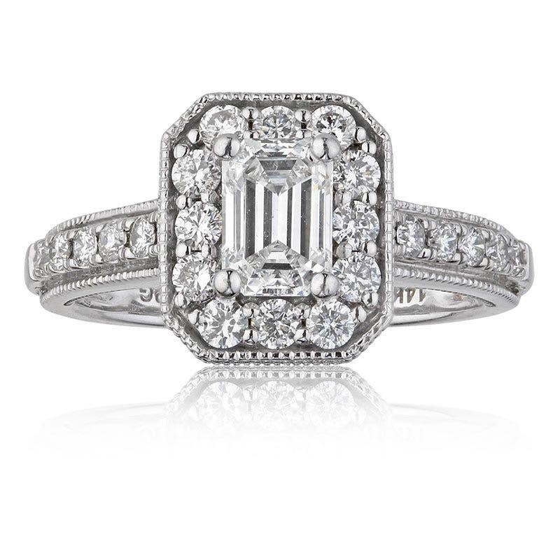 Scarlett. 1¼ctw. Vintage Inspired Emerald-Cut Diamond Engagement Ring in 14k White Gold