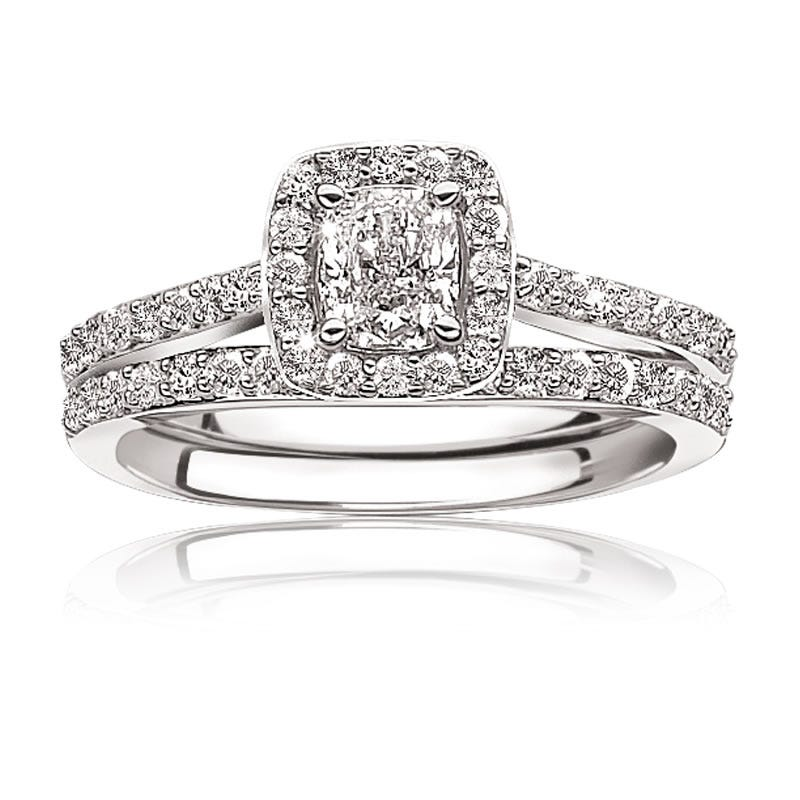 Roxi. Diamond Pavé ¾ctw. Cushion-Cut Halo Engagement Ring 14k White Gold