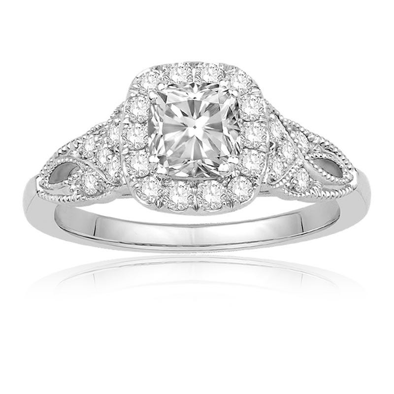 Ecoura Cushion-Cut 1+ctw. Vintage Inspired Diamond Halo Engagement Ring 14k White Gold