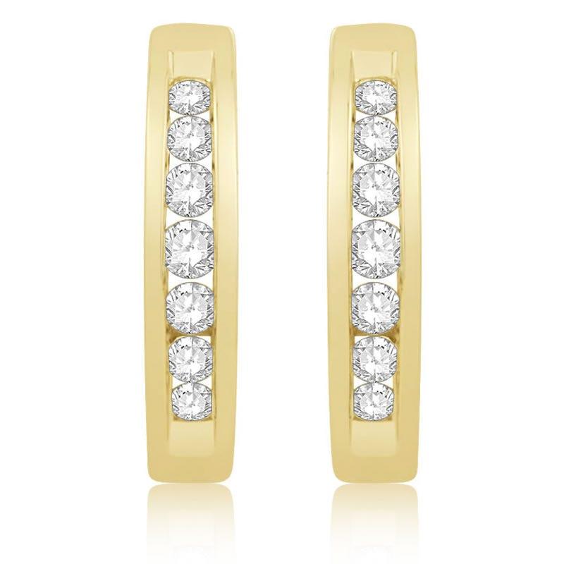 Round Channel Diamond ¼ctw. Hoop Earrings