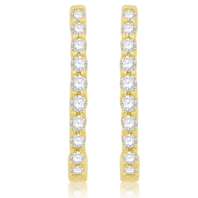 Oval Prong Diamond ¼ctw. Hoop Earrings