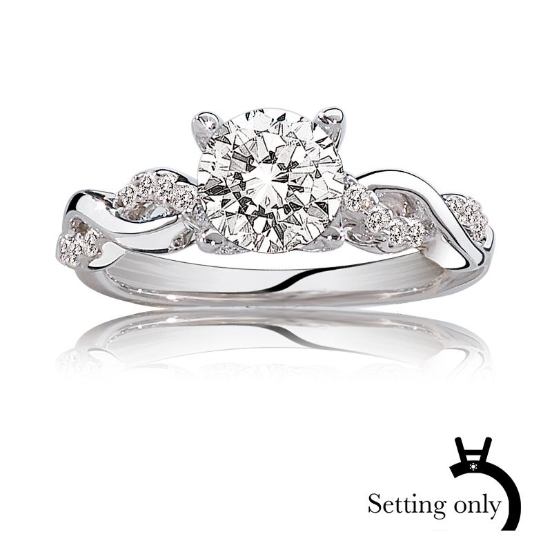 Gabriella. ArtCarved Pave Diamond Semi-Mount in 14k White Gold