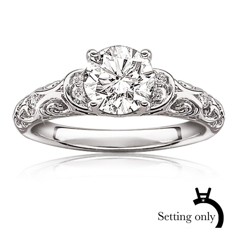 Peyton. ArtCarved Vintage Inspired Semi-Mount 14k White Gold