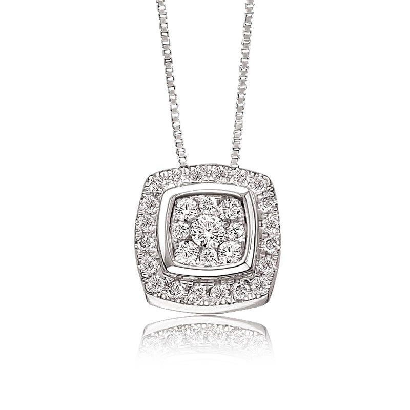 Diamond Cushion Cluster Pendant ¼ ctw. in 10k White Gold
