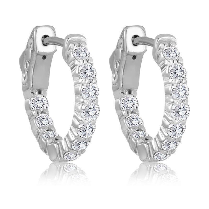 Round Diamond 1ctw. In & Out Hoop Earrings