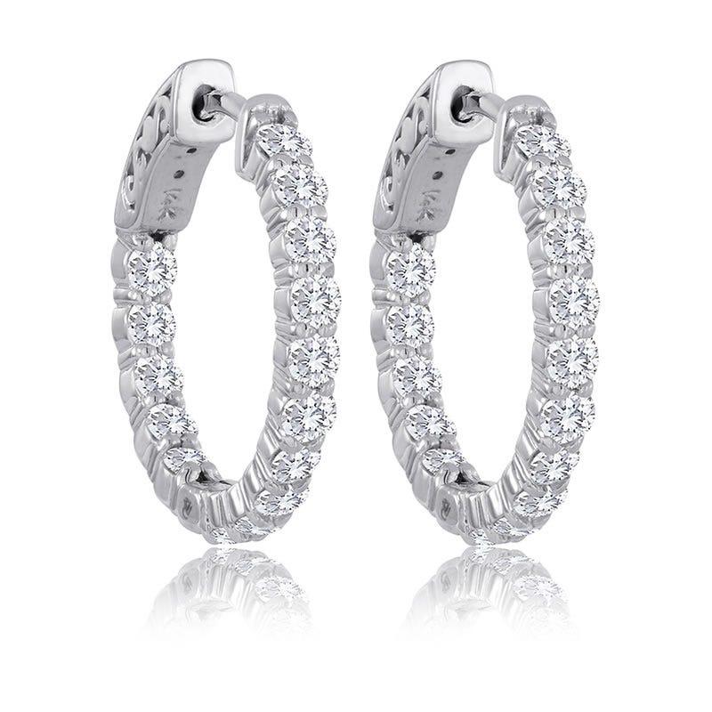 Round Diamond 2ctw. In & Out Hoop Earrings