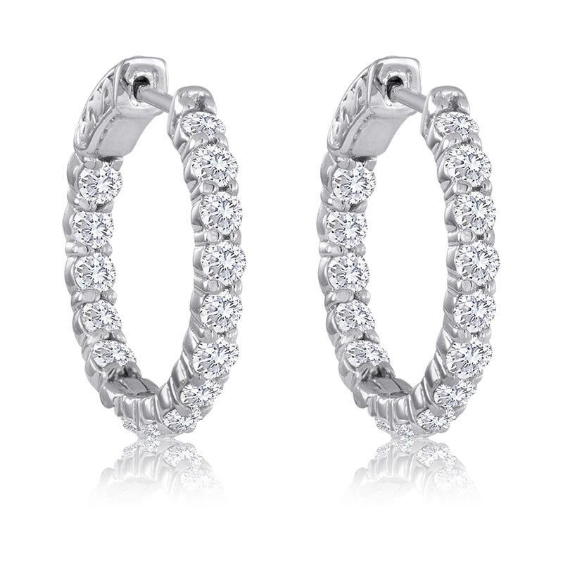 Round 3ctw. Diamond In & Out Hoop Earrings 14k White Gold