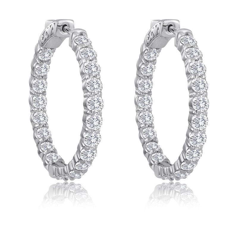 Round 4ctw. Diamond In & Out Hoop Earrings 14k White Gold