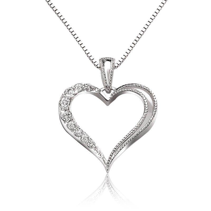 Diamond Half Diamond Heart Pendant in Sterling Silver