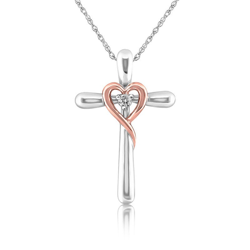 Cross & Rose Heart Diamond Pendant in 10k Gold