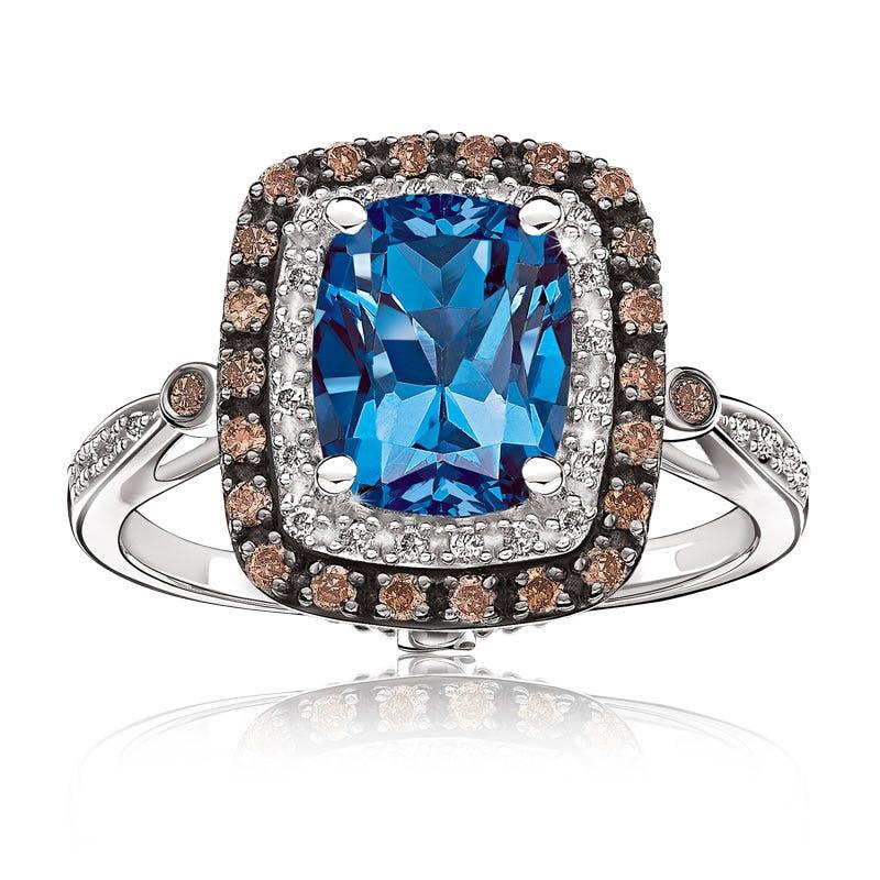 JK Crown® London Blue Topaz with White & Brown Diamond Halo 10K Ring