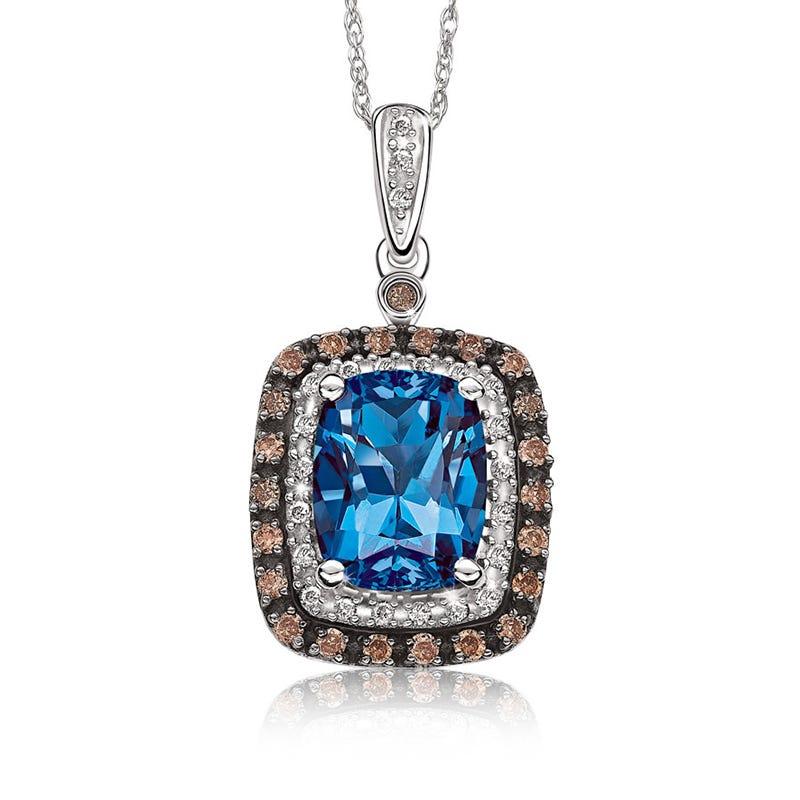 JK Crown® London Blue Topaz Pendant with Brown & White Diamond Halo