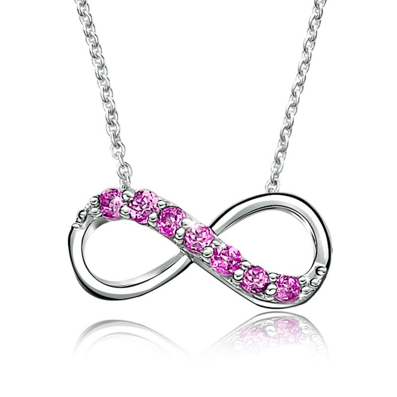 Pink Gemstone Infinity Necklace in Sterling Silver