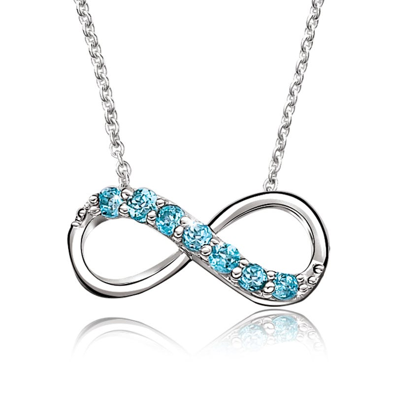 Blue Topaz Infinity Necklace in Sterling Silver