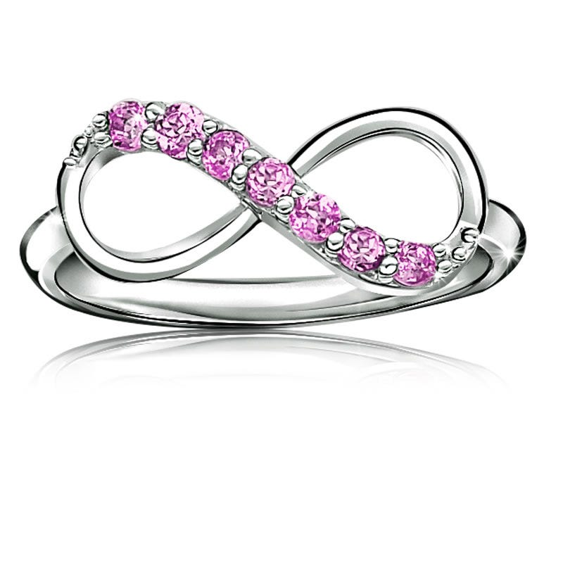 Pink Gemstone Infinity Ring in Sterling Silver