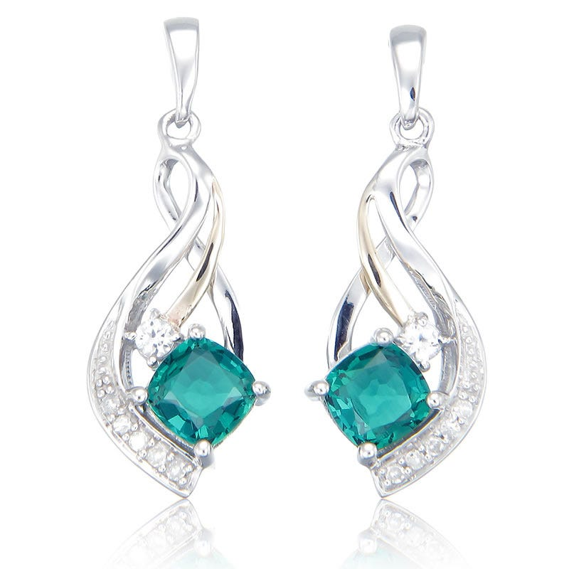 Diamond & Created Emerald Dangle Earrings
