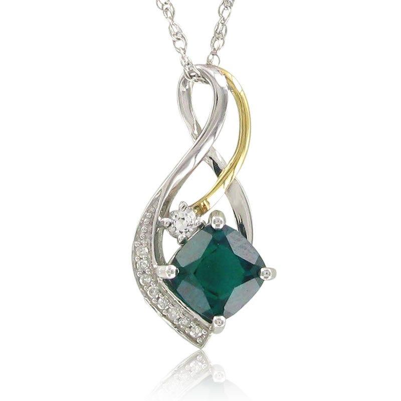 Created Emerald, Created White Sapphire & Diamond Pendant