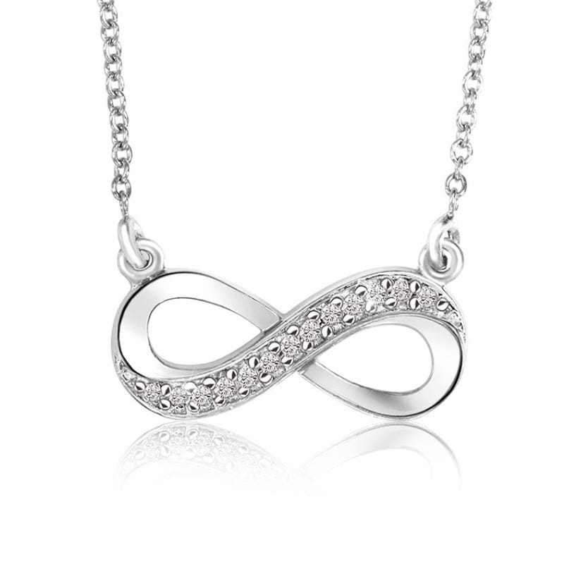 Diamond Infinity Necklace in Sterling Silver (H/I2)