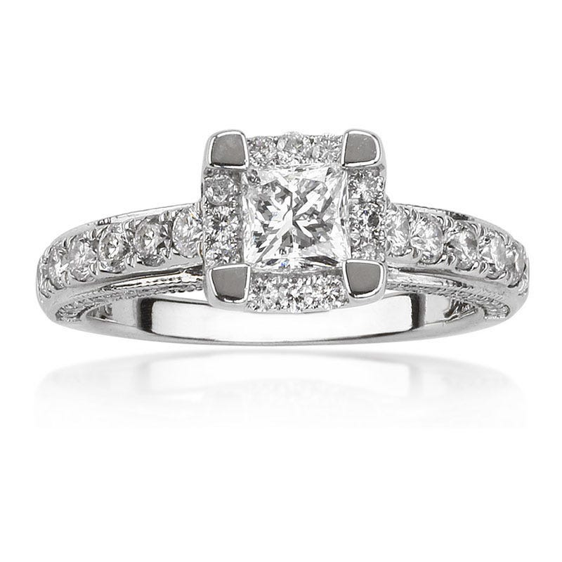 Demetrios Princess-Cut Halo Engagement Ring 1 1/4ct. T.W.