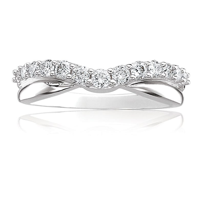 Diamond Contour Wedding Band 1/10ctw. in 14k White Gold