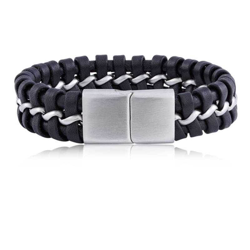 Men's Black Leather & Stainless Steel Braided Bracelet