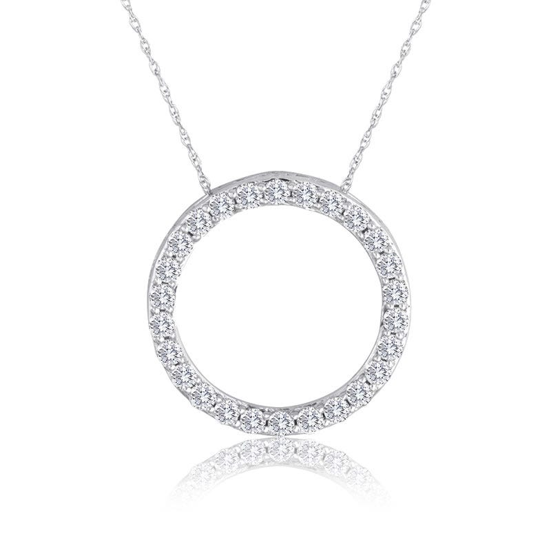 1ct. Diamond Circle Pendant in 10k White Gold