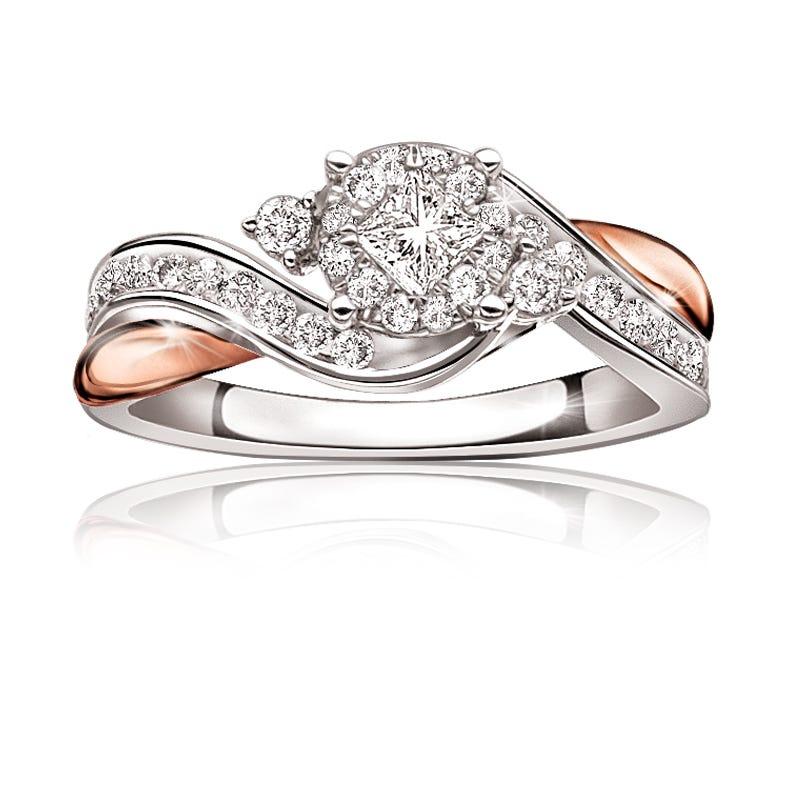Olive. 14K Gold Princess-Cut Diamond Halo Engagement Ring 5/8ct.
