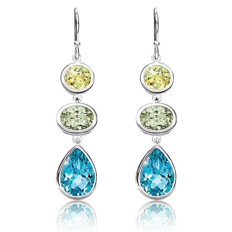Blue Topaz, Lemon & Mint Quartz Teardrop Dangle Earrings