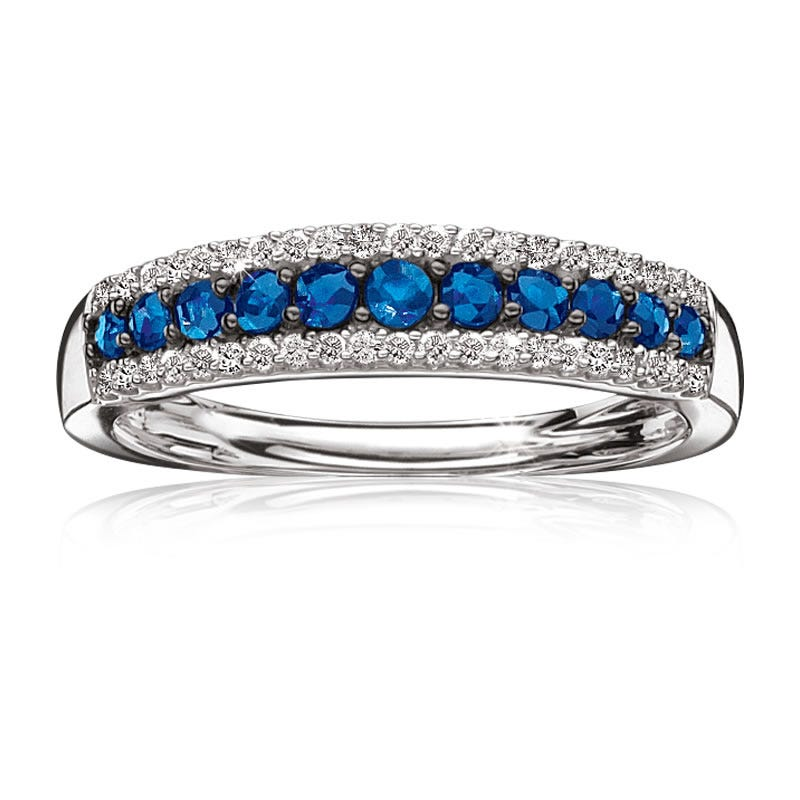 Sapphire & Diamond 3-Row Band in 10k White Gold