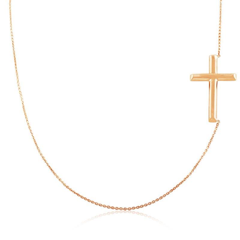 Sideways Cross Necklace 14k Rose Gold