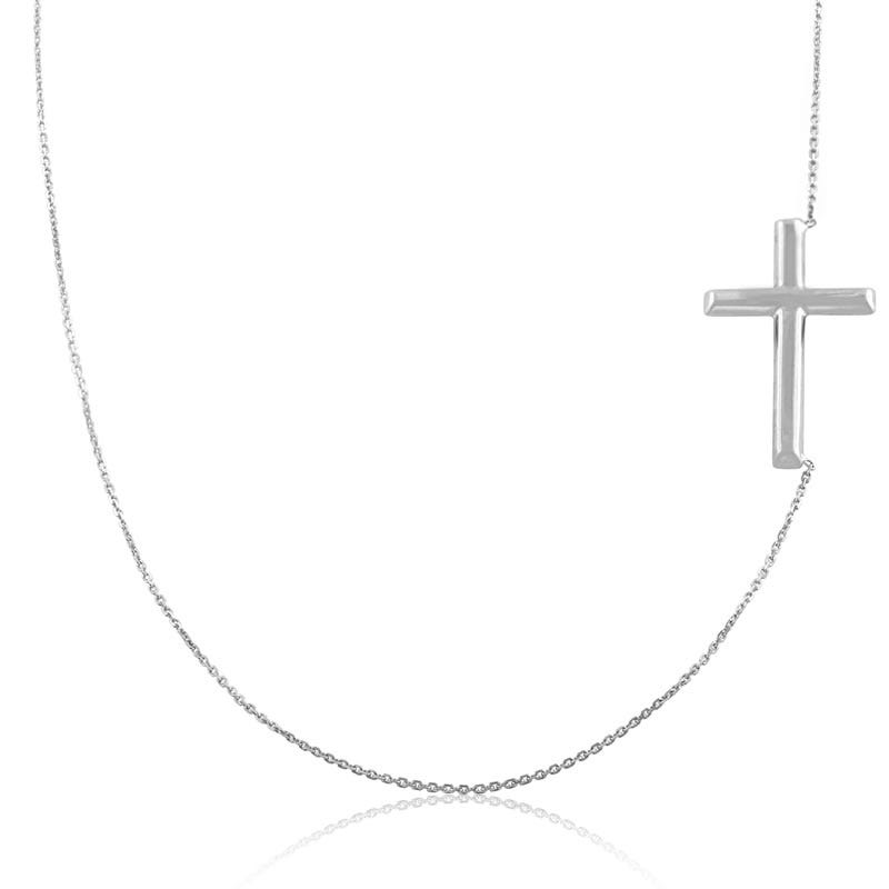 Sideways Cross Necklace 14k White Gold