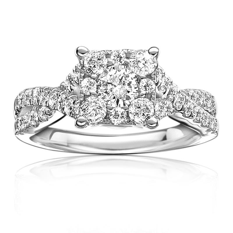 Serie Brilliant-Cut Square Twist Engagement Ring 1ct. T.W.