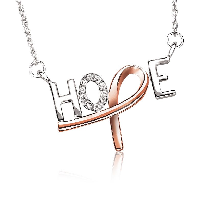 Promise of Hope Diamond HOPE Necklace in Sterling Silver with Pink Plated Ribbon