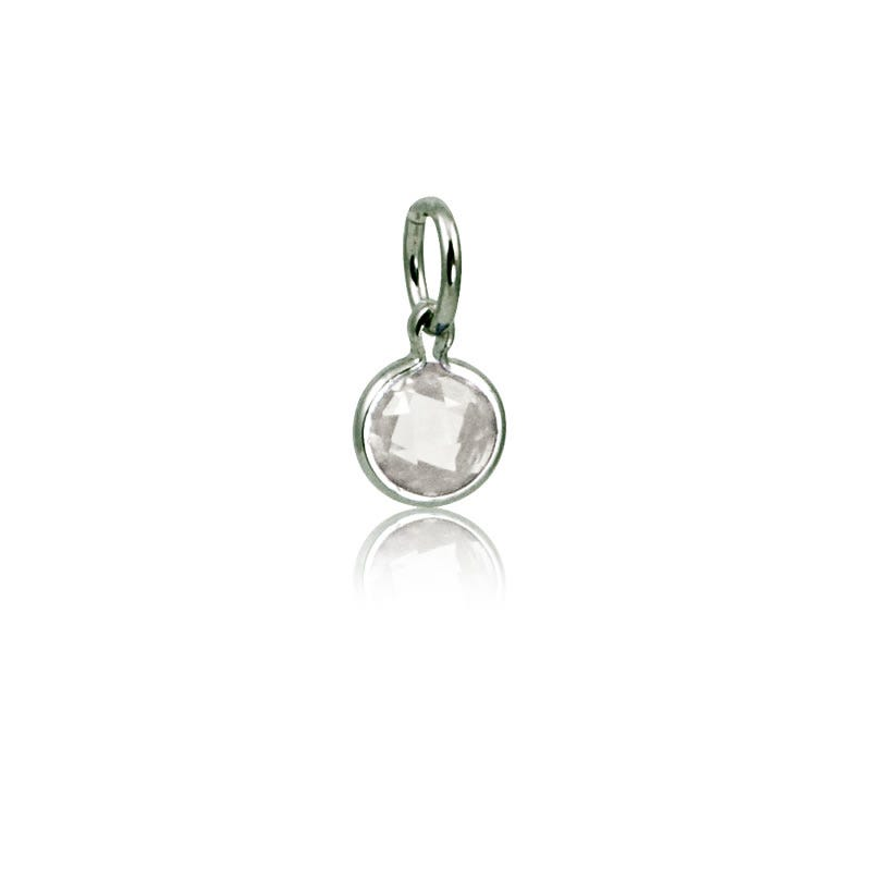 April White Topaz Round Mommy Chic Birthstone Charm