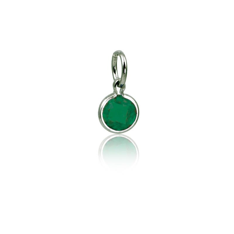 May Emerald Round Mommy Chic Birthstone Charm