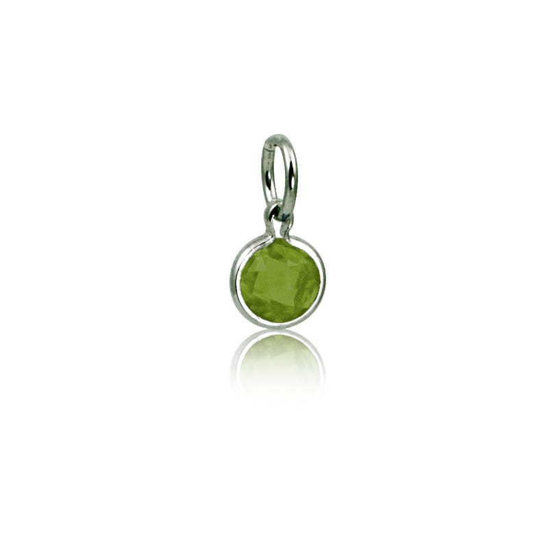 August Peridot Round Mommy Chic Birthstone Charm